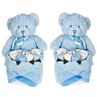 Twins - Rosebud Teddy Box - Cornflower Blue